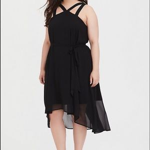 Black layered dress with cross straps in back